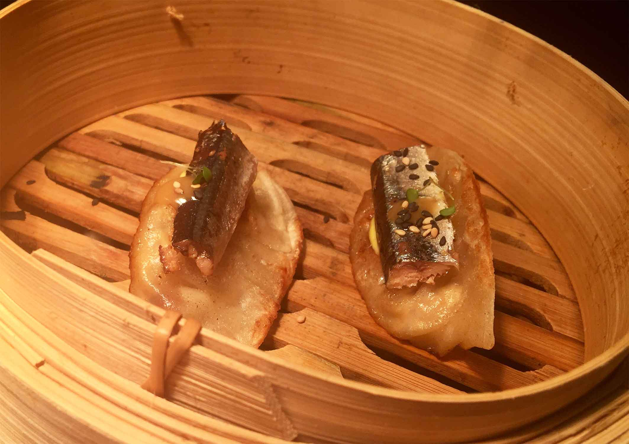 Needlefish and iberian ham dumplings
