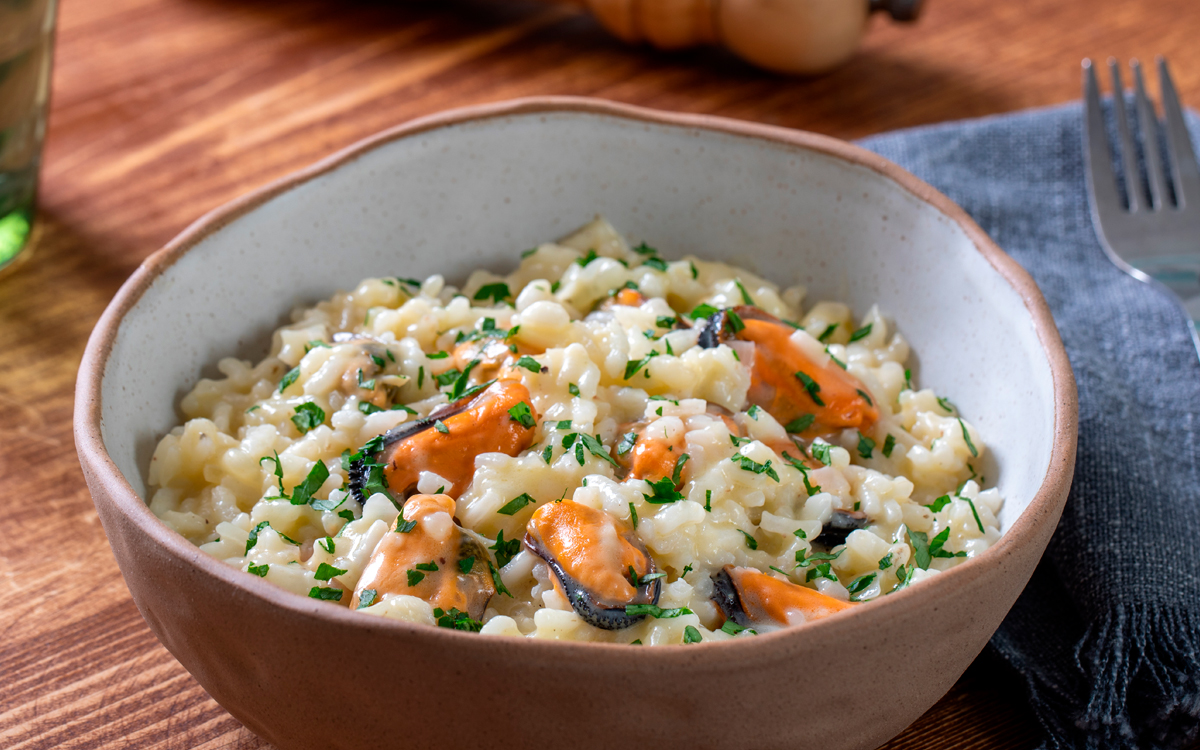 Italian Risotto with preserved mussels